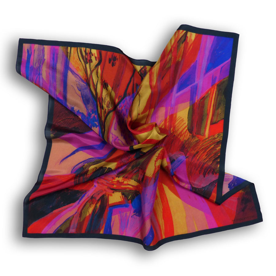 Square Silk Scarf (90cm) - Woodland - Red/Gold-MondoMagna