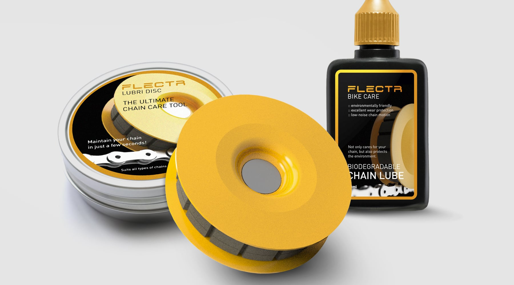 FLECTR LUBRI DISC and FLECTR BIO CHAIN LUBE