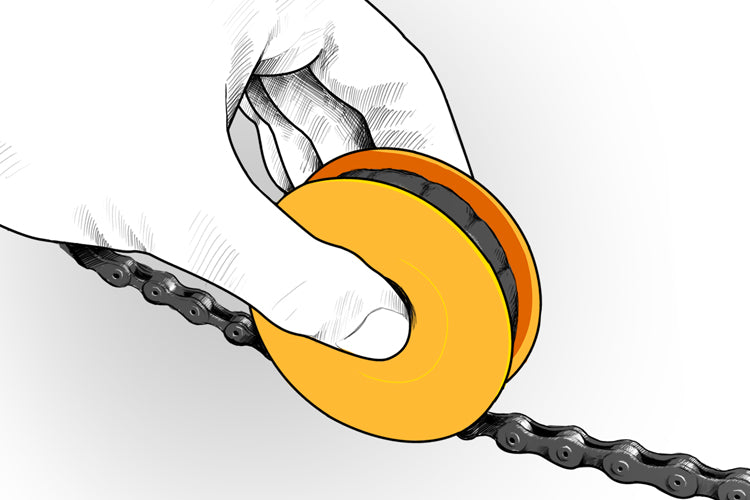 FLECTR LUBRI DISC - how to lube your bicycle chain in seconds.