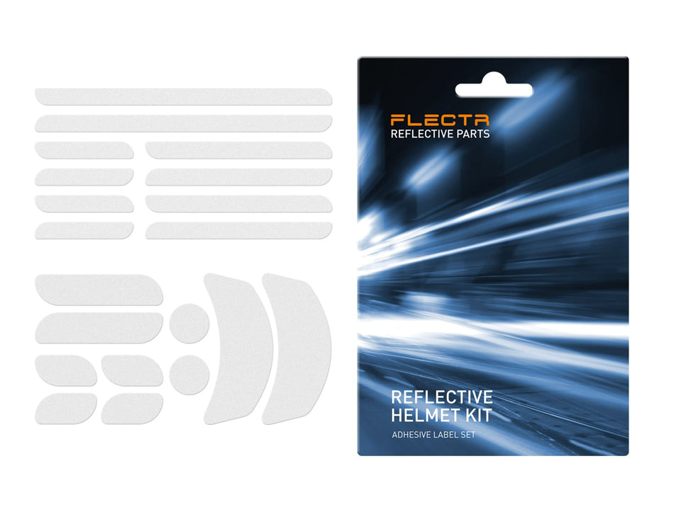 FLECTR reflective helmet kits for race and commuter helmets