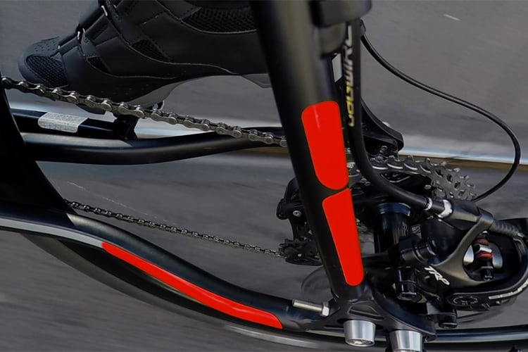 flectr reflective frame kit for cycles red