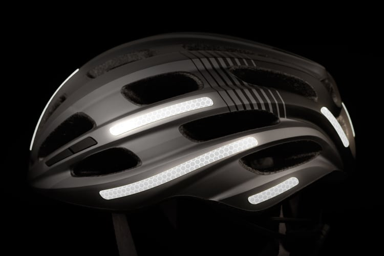 flectr reflective helmet kit on a bicycle helmet - side view