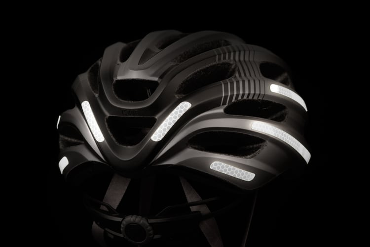 flectr reflective helmet kit on a bicycle helmet - rear view