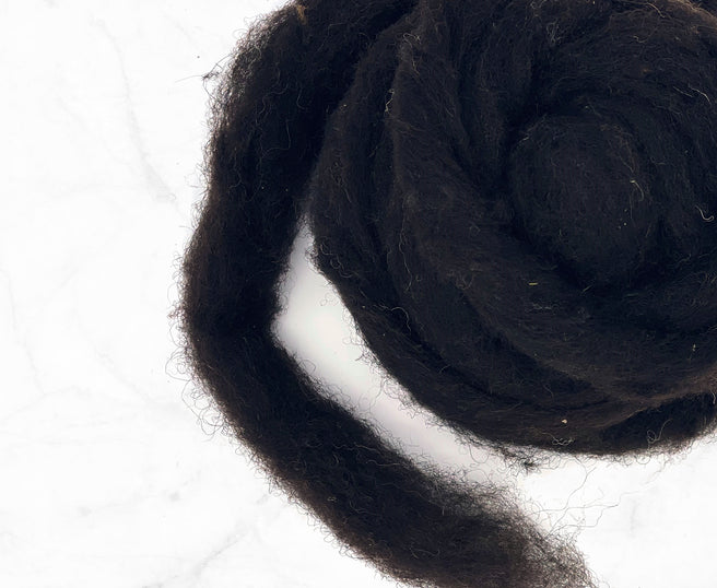 Black Welsh mountain wool carded sliver high texture
