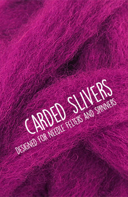 Carded Wool Slivers for Needle Felting and Spinning