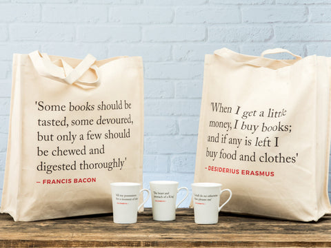 Renaissance Quote Tote Bag (Erasmus & Bacon double-sided)