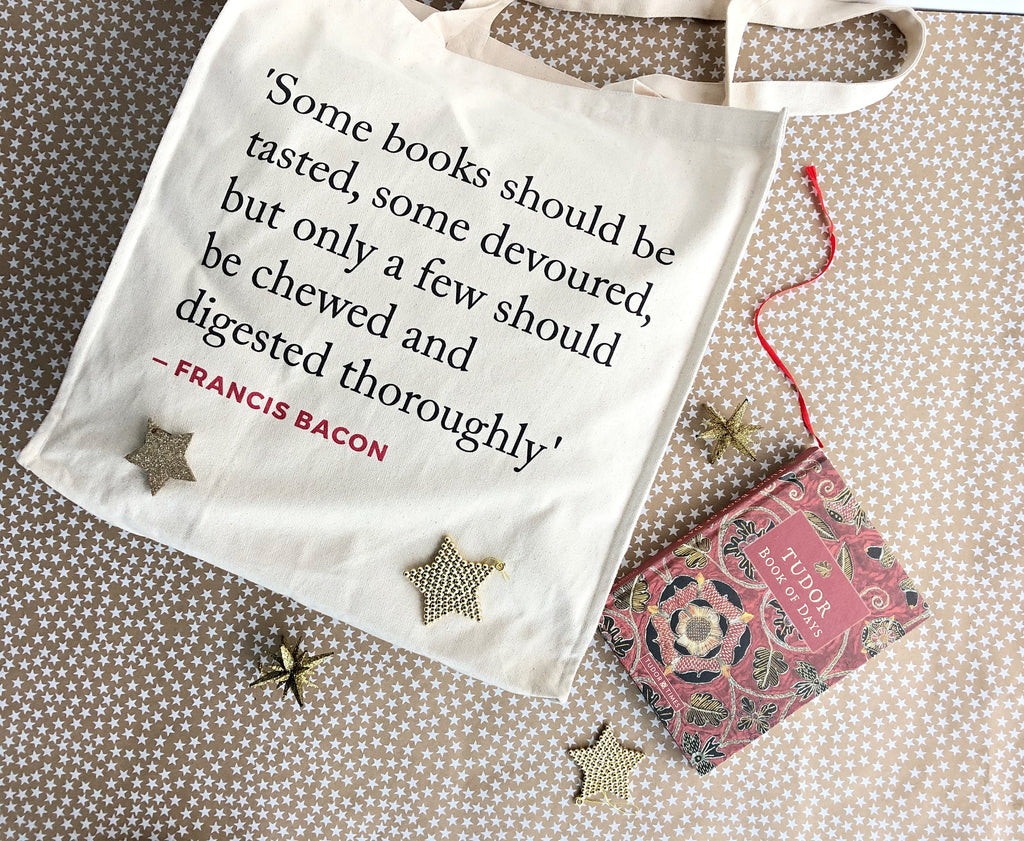 Tudor Book of Days and Erasmus/Bacon Quotes Tote Bag