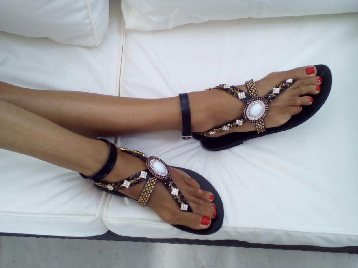 BLACK TULIP SANDALS - gogosandals