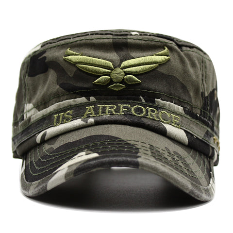 U.S. Air Force USAF Wings Embroidered Cotton Flat Top Adjustable Buckle Cap