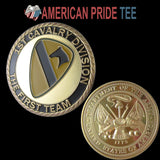 "1st Cavalry Division ""The First Team"" 24K Gold Plated Challenge Coin/Medal 1067#"