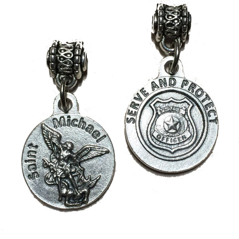 Saint St Michael the Archangel Medal Pendant Police Badge Serve and Protect 3/4""