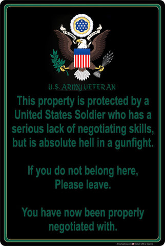 "2018 Property Protected by A U.S. Army Vet 8"" x 12"" Metal Sign"