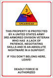 "1AD 2AD 3AD Property Protected by A U.S. Army Vet 8"" x 12"" Metal Sign"
