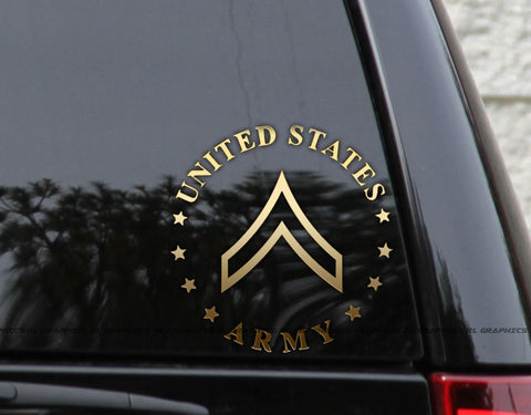 Army Ranks (E2-E8) Wall Glass Car Decal Stickers
