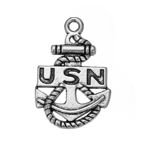 20pcs/lot High Quality Zinc Alloy Antique Silver Filled USN Military Charms