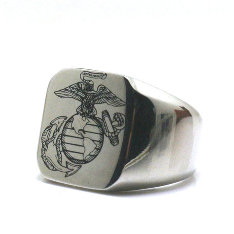 U.S. Marine Corps 316L Stainless Steel Polishing Silver Ring