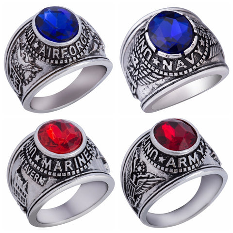 Size 7-15 United States Army Navy Airforce Marines Veteran Military Ring Retro Vintage USMC Memorial War Battle Ring