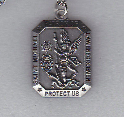 Saint (St.) Michael Patron of Law Enforcement Protect Us Necklace/Pendant Nickel