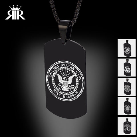 Army Black Military Necklace US Men Stainless Steel Pendant 24 Inch Chain