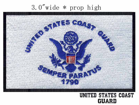 "10PCS/LOT USCG United States Coast Guard Flag 3"" Wide Embroidery Patch  for Handcraft for Kids/Ribbons Kit/Punto Croce Seta"