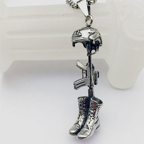 U.S. Military Stainless Steel Helmet  Boots Pistol Pendant Necklace