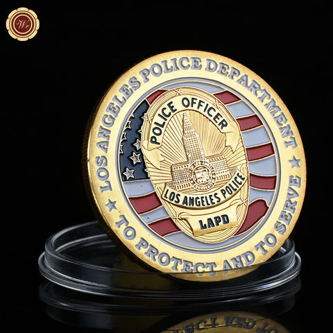 24k Gold US Police Officer Commemorative Metal Challenge Coins Art Crafts with Plastic Case
