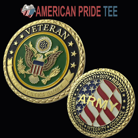U.S. Army Veteran Gold Plated Challenge COIN/MEDAL 1101#