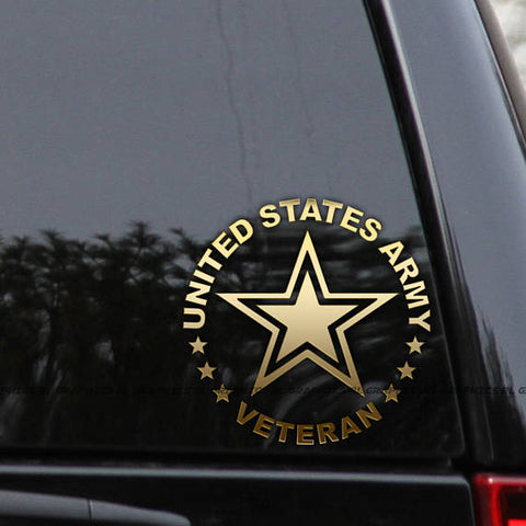 Army Veteran-Retired Car Truck Window Laptop Decal Sticker 6""