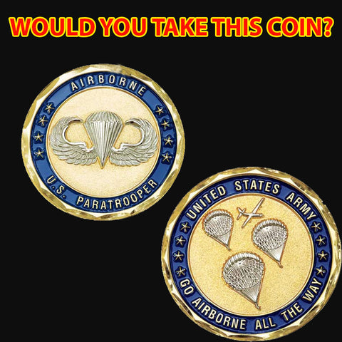 Paratrooper Airborne All The Way Challenge Coin New Year Gifts