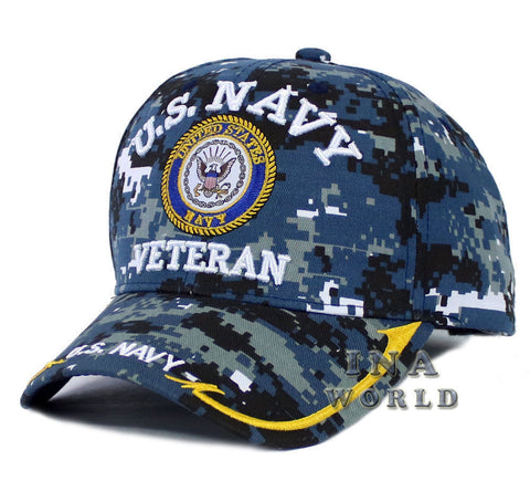 U.S. NAVY hat NAVY Logo VETERAN Military Licensed Baseball cap- Navy Camo