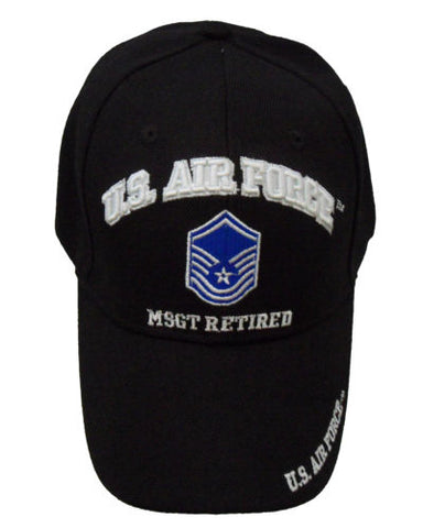 Licensed US Air Force MSGT Retired Cap 390-BLK
