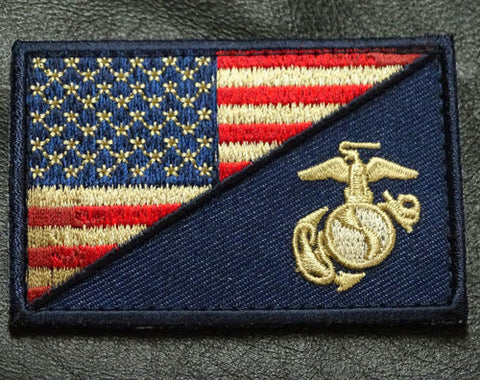 USA FLAG MARINE CORPS USMC SUBDUED DRK NAVY MORALE HOOK PATCH