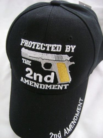 Protected By The 2nd Amendment Embroidered Logo On Black Hat