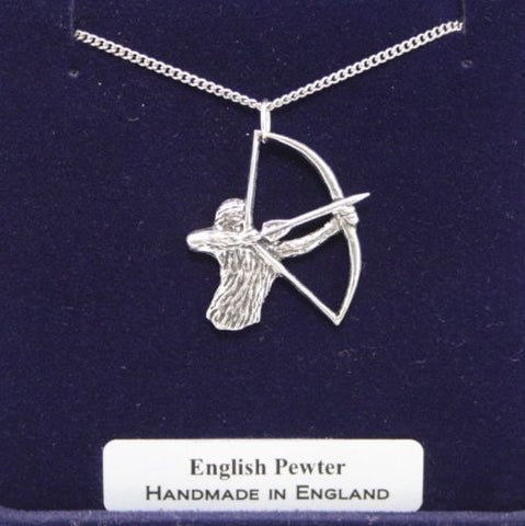 Archery Lovers Necklace in Fine English Pewter, Handmade, Gift Boxed, archer