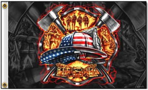DELUXE FIRE DEPARTMENT TRIBUTE FLAG  3''x5''