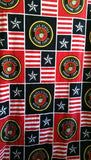 "U.S. Marines Military Blanket Sewing Craft Fleece Fabric Throw Sykel XL 90""X61"""