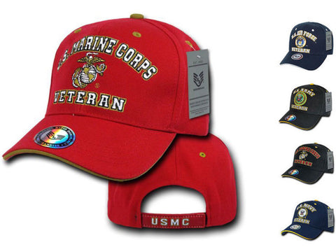 Rapid Dom Air Force Army Marines Navy Veteran Vets Military Baseball Hats Caps