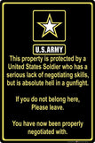 "2018 Property Protected by Soldier U.S. Army 8"" x 12"" Aluminum Metal Sign"