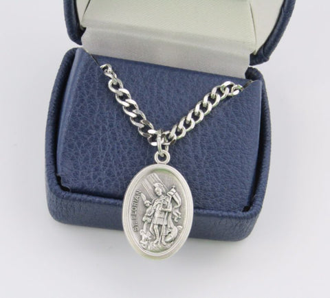 "Saint St FLORIAN Medal Pendant Necklace 24"" Chain Firefighter ITALY Holy Medal"
