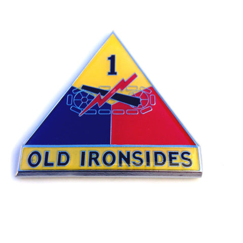 """Old Ironsides"" 1st Armored Division Decal Sticker Auto Emblem Chrome Metal Army"