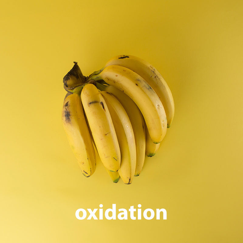 brown bananas (oxidation)