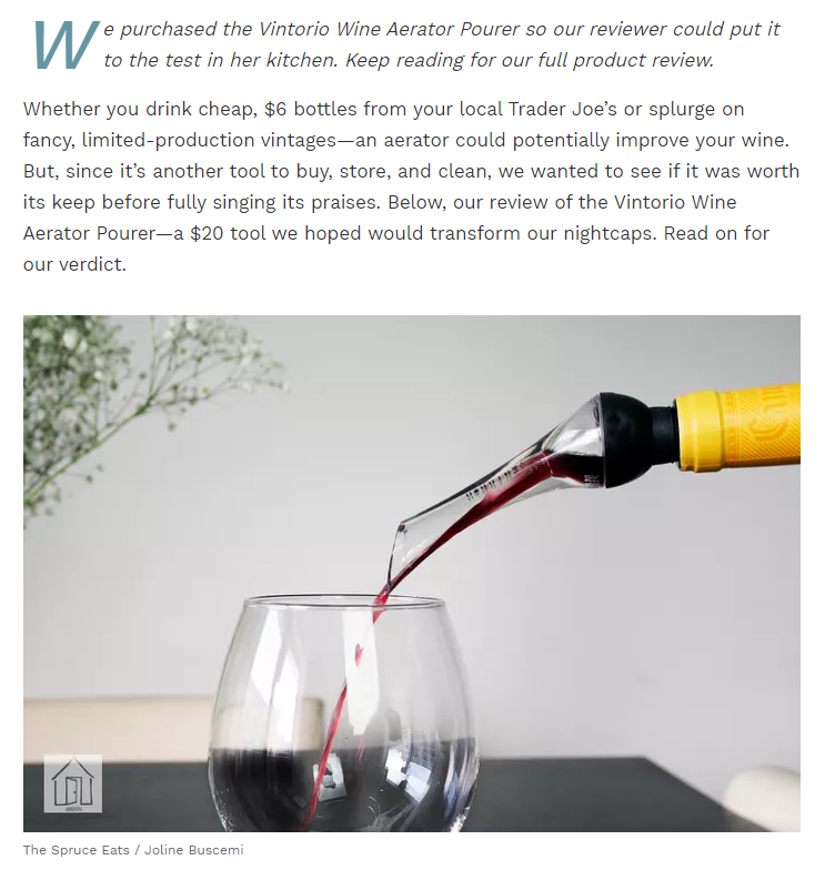 Vintorio Wine Aerator Pourer reviewed by the Spruce Eats