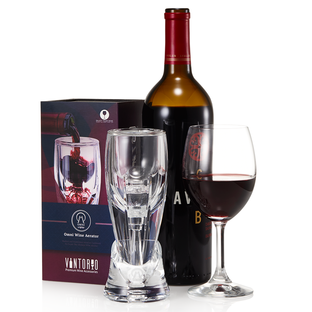 Vintorio Omni Wine Aerator, Red Wine Bottle, Red Wine Glass, and Box