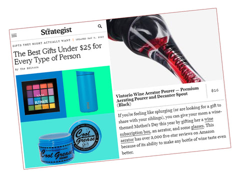 Vintorio Wine Aerator Pourer - Aerateur de Vin featured in the Strategist (NYMag)