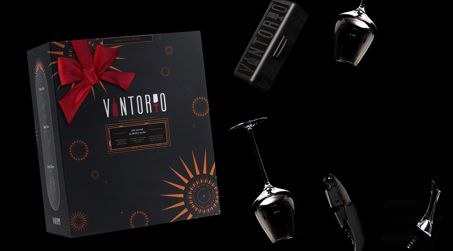 Vintorio Essential Wine Gift Set with Glasses, Aerator, and Corkscrew
