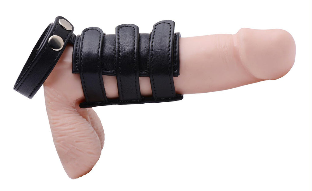 Leather Cock Ring with Penis Sheath- Smooth - Bedroommadness - 2