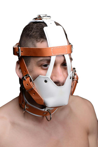 White and Tan Hospital Style Leather Muzzle - Bedroommadness - 2