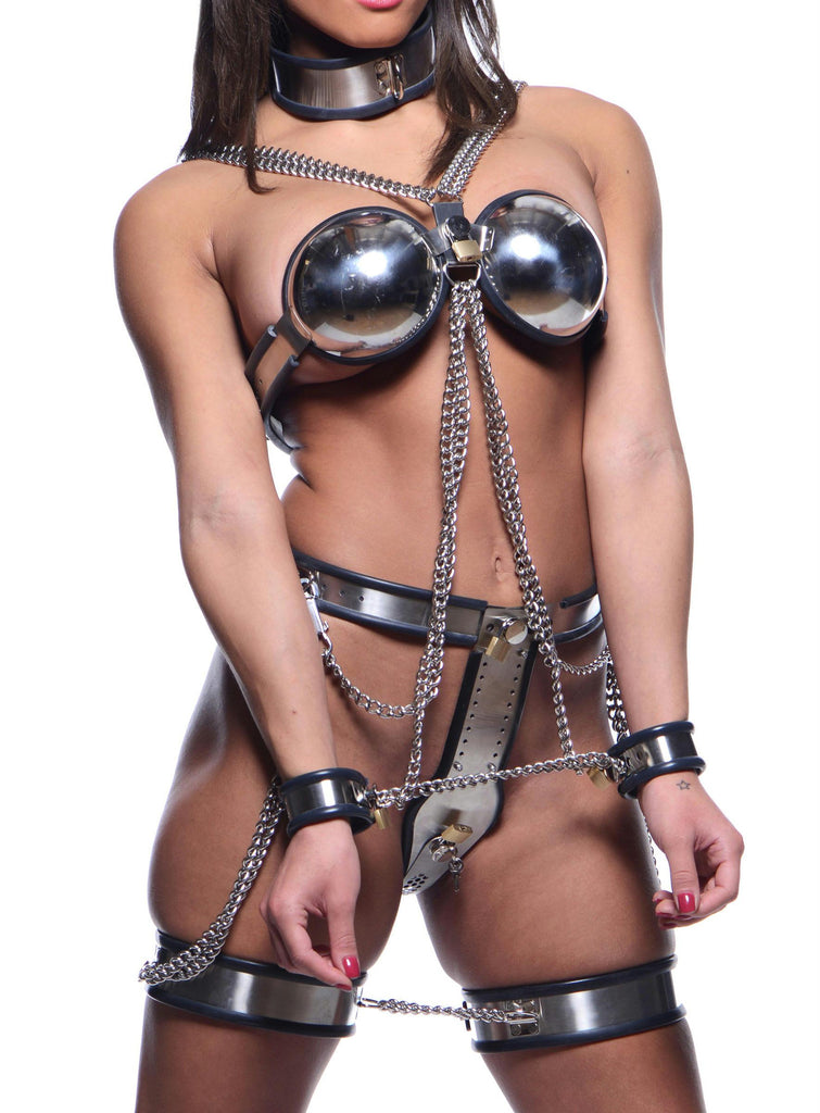Female Chastity Full Body Steel Bondage Restraints - Bedroommadness - 2