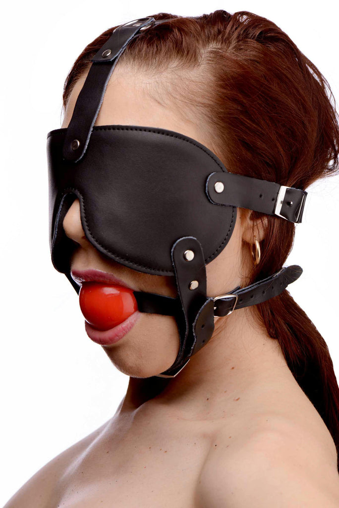 Gag and Blindfold Head Harness- Red - Bedroommadness - 2