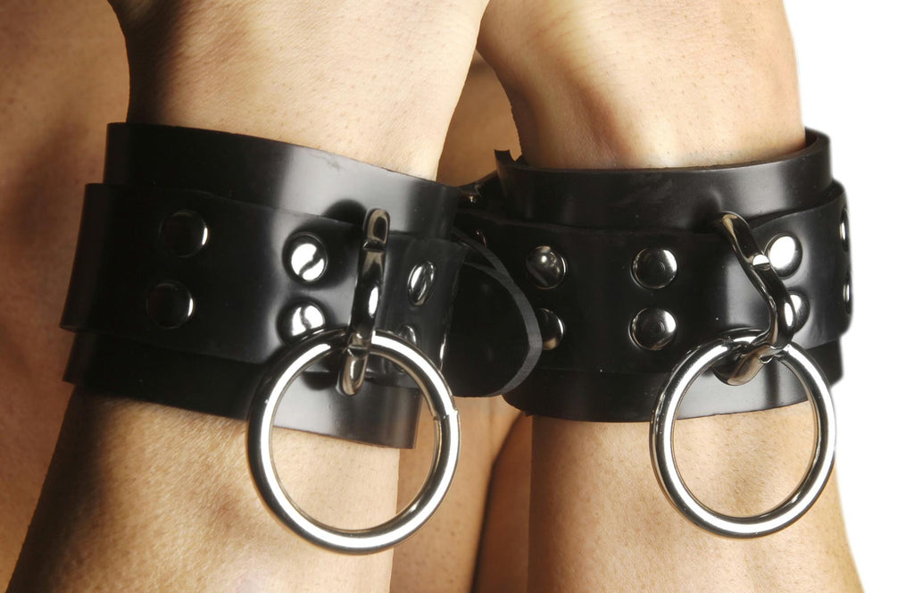 Strict Leather Locking Rubber Ankle Restraints - Bedroommadness - 2